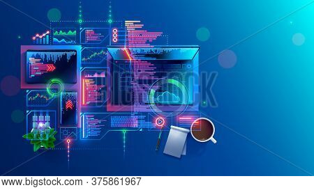 Concept Of Programming, Coding Computer Software. Program Development Technology. Learning Create We
