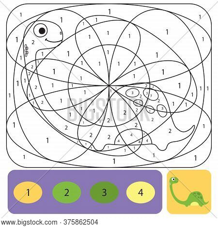 Cute Dino Coloring Page For Kids. Printable Design Coloring Book. Coloring Puzzle With Numbers Of Co