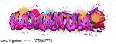 Samantha. A Cool Graffiti Styled Logotype Design. Legible Letters Aimed For A Wide Range Audience Of