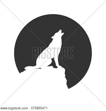 Wolf On The Rock Graphic Icon. Wolf Howls At The Moon. Sign In The Circle Isolated On White Backgrou