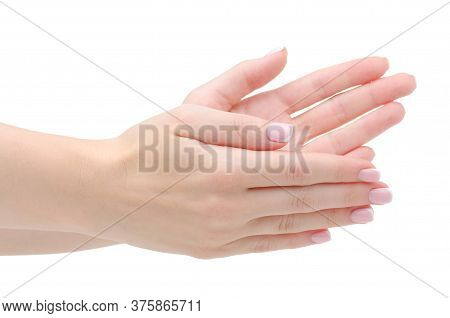 Female Hand Showing Applause On White Background Isolation