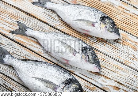 Set Of Raw Dorado Sea Bream Fish Over White Wood Table Side View.