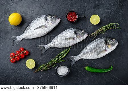 Dorado Or Seabream Fish Set With Herbs For Grill Uncooked  On Black Stone Textured Table Top View.