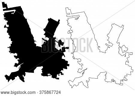 Chihuahua City (united Mexican States, Mexico, Chihuahua State) Map Vector Illustration, Scribble Sk