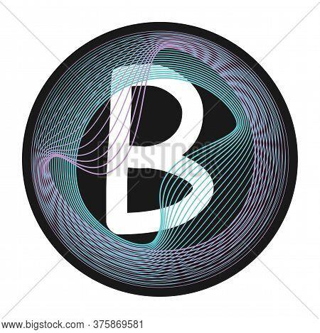 Holographic Glitch Monogram. Letter Frame. Guilloche Waving Design. Letter B Monogram.