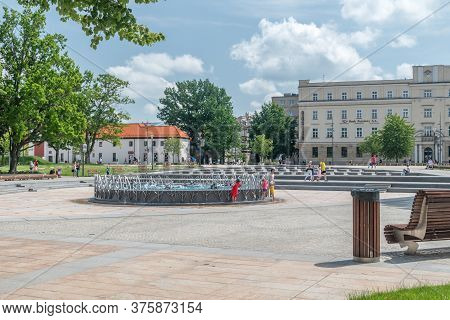 Lublin, Poland - June 11, 2020: Fountain Without Water At Lithuanian Square.
