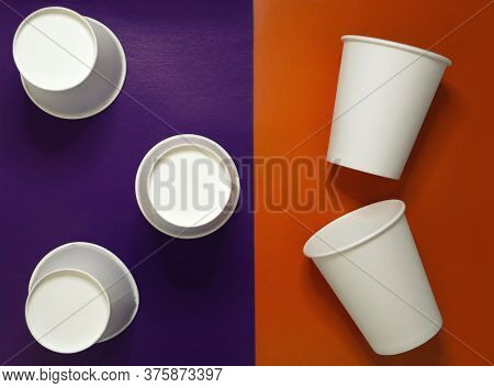 Five White Blank Paper Disposable Take Away To Go Cups For Drink Coffee, Tea At Colorful Purple And