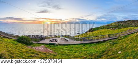 Hallett Cove Boardwalk Along The Coast At Sunset, South Australia