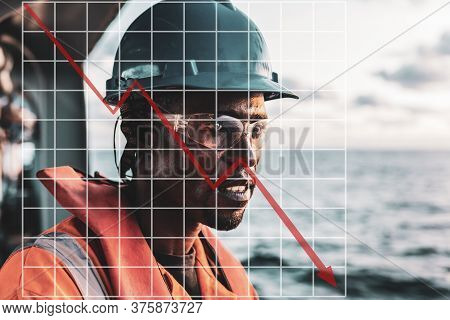 Concept Of Falling Market In Marine Industry With Downward Graphics. Seaman Ab Or Bosun On Deck Of V