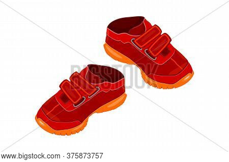 Pair Red Shoes Isolated On White Background. Two Children Or Young Adult Red Sneakers With Velcro An