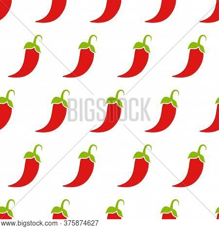 Red Hot Chili Pepper Or Cayenne, Or Jalapeno Pattern. Vegetable Ornament On White Background.