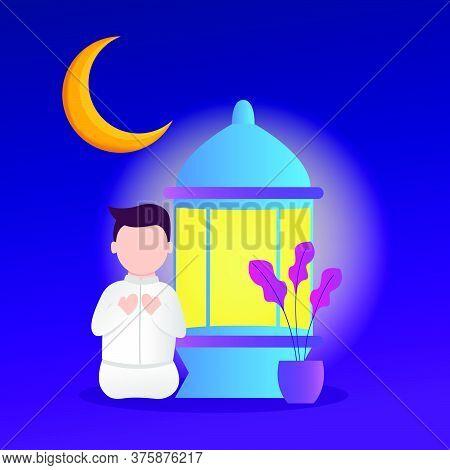 Illustration Of A Muslim Praying. Muslims Who Pray During Ramadan. Vector Illustration