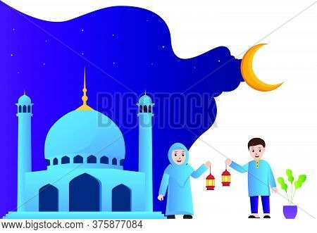 Vector Illustration Graphic Of Muslim Couple Holding A Lantern Next To The Mosque. Good For Posters,