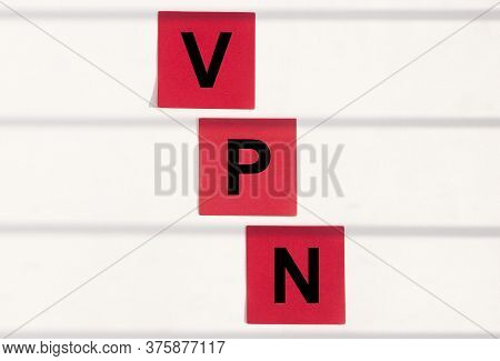 Vpn Virtual Private Network Word Acronym On Red Sticky Notes Paper