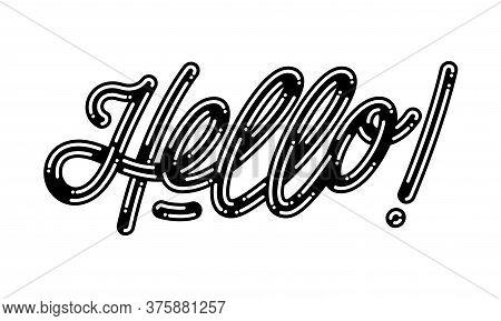 Hello Card. Typographic Banner Design. Vector Illustration.