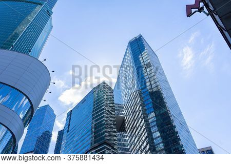 Moscow, Russia, Moscow-city Business Quarter. Moscow City Skyscrapers On Clear Sky Background, Copy