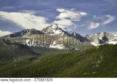 Close Up Of Longs Peak On A Summer Day