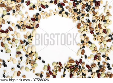 Template Flat Lay Of Mix Beans. Different Kinds Of Beans Spread All Area Of Art Board, Round Empty S