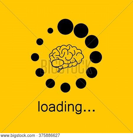 Brain Loading On Yellow Background. Loading Bar