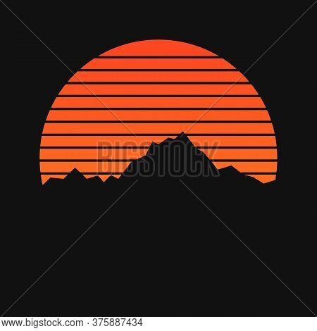 Mountains On Sunset Background. Mountain Ornament On Sun Background
