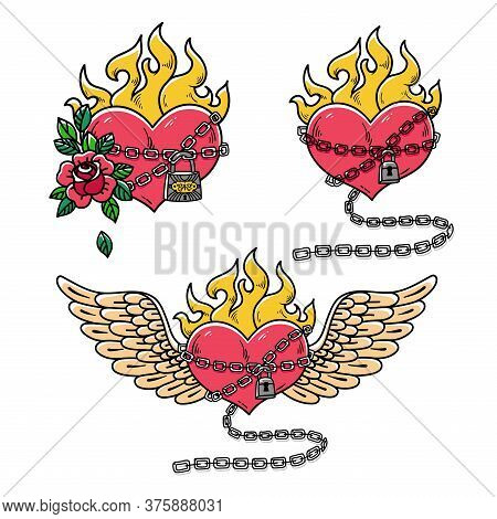 Collection Of Hearts In Chains Of Love. Flaming Heart Tattoo. Passionate Love. Red Burning Heart Wit
