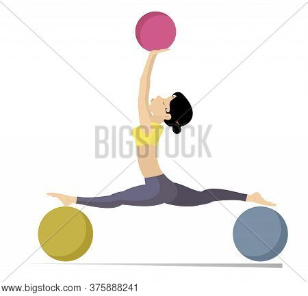 Young Woman Does Exercises With The Balls Illustration. Young Woman With Lithe Figure Doing Sport Ex