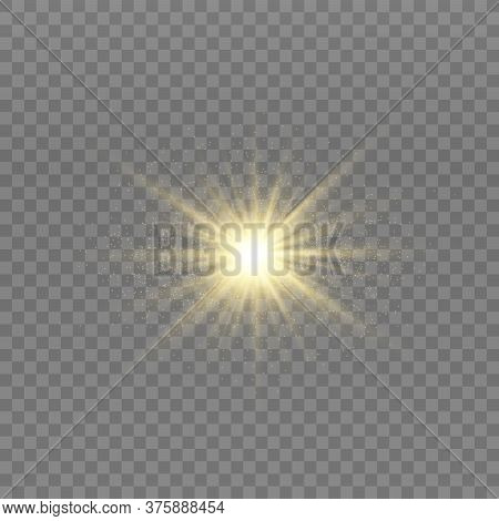 Yellow Glowing Light Explodes On A Transparent Background. Sparkling Magical Dust Particles. Bright