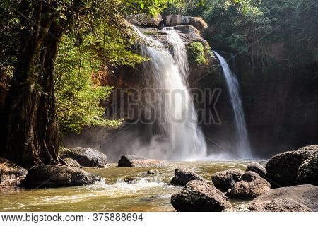 Haew Suwat Waterfall In The Morning At Khao Yai National Park, Nakhon Ratchasima Province, Thailand.