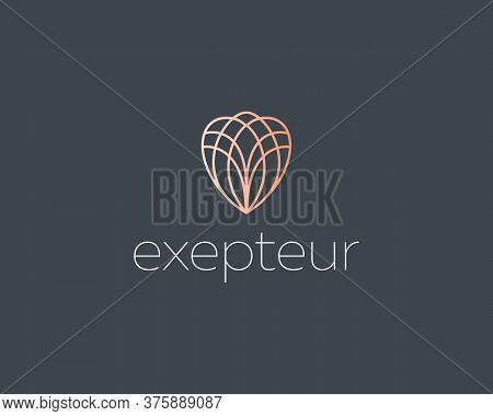 Abstract Elegant Line Art Flower Crystal Brilliant Logo Icon Vector Design. Universal Creative Premi