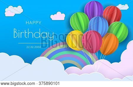 Origami Happy Birthday Greeting card.  Happy birthday illustration, Happy birthday banner, Happy birthday background, Happy birthday card.  Flying Paper cut balloons. Colorful decoration for party, celebration, banner, card, gift. Vector Illustration.