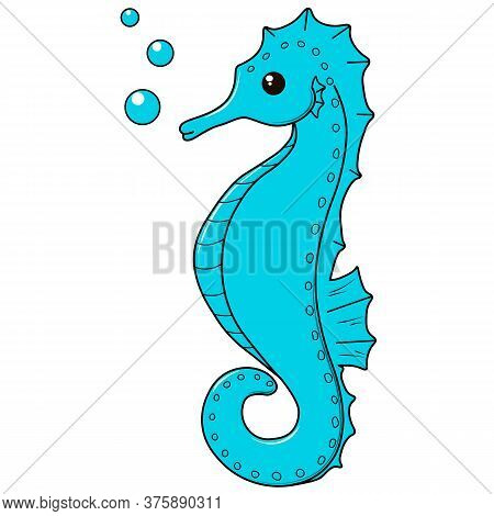 Vector Cute Cartoon Blue Seahorse On White Background. Illustration Underwater World Collection. Ico