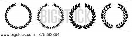 Laurel Wreath Silhouettes Vector Set. Heraldic Crest Collection.