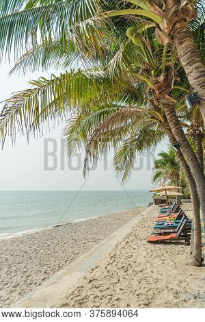 Sunbeds And Sunshade Or Umbrella Beach Chair Under Coconut Tree On The Beach. Summer Vacation Concep
