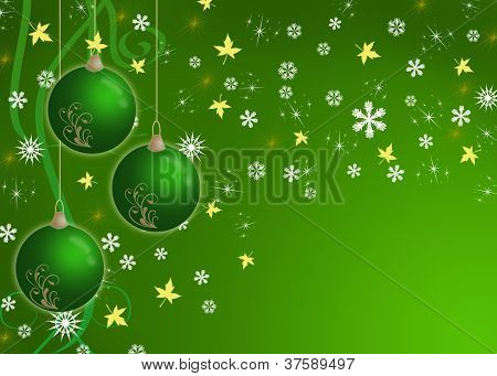poster of creative christmas card green with baubles and snowflake