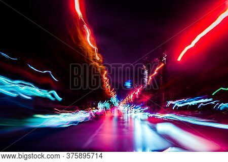Abstract Moving Speed Background With Multicolor Line. Motion Of Futuristic