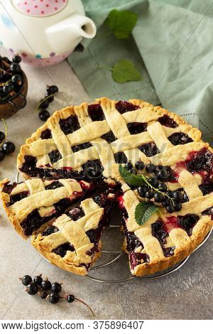 Delicious Berry Pie Summer With Currant. Sweet Pie, Tart With Fresh Berry Currant On Stone Counterto