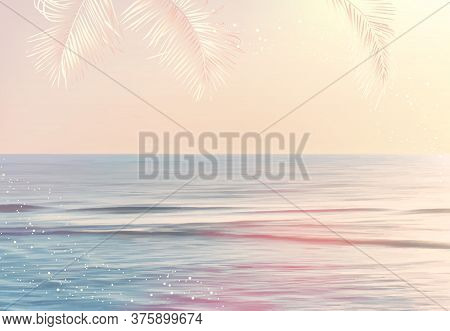 Scenic Pink And Yellow Ocean Sunrise View Vector Design Texture. Tranquil Costline Horizontal Panora