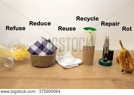 Zero Waste Management, Fundamental Principles Refuse, Reduce, Recycle, Repair, Reuse, Rot. Save Mone