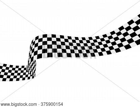 Checkered Racing Flag, Ribbon. Vector Illustration On White