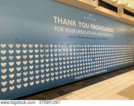 Dubai / Uae - July 10, 2020: Thank You Frontliners For Your Dedications And Sacrifices Wall In Ibn B