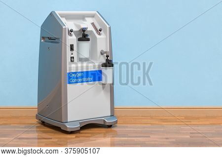Portable Oxygen Concentrator In Room Near Wall, 3d Rendering