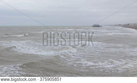 The Brighton Coastline In Stormy Weather From Brighton Palace Pier, Brighton, England