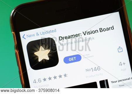 Moscow, Russia - 1 June 2020: Dreamer Vision Board App Logo On Smartphone, Illustrative Editorial.