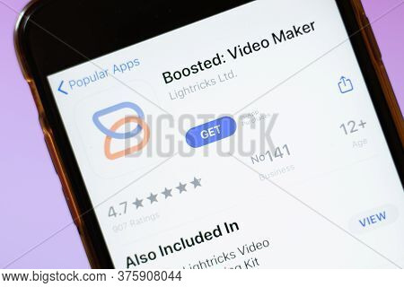 Moscow, Russia - 1 June 2020: Boosted Video Maker App Logo On Smartphone, Illustrative Editorial.