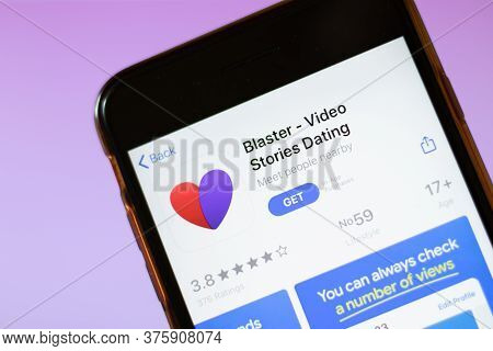 Moscow, Russia - 1 June 2020: Blaster Video Stories Dating App Logo On Smartphone, Illustrative Edit