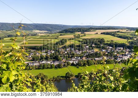 Aerial View At Village Brauneberg On River Moselle, Germany