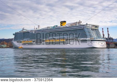 La Spezia, Italy - January 17, 2020: Costa Smeralda In The Port Of La Spezia
