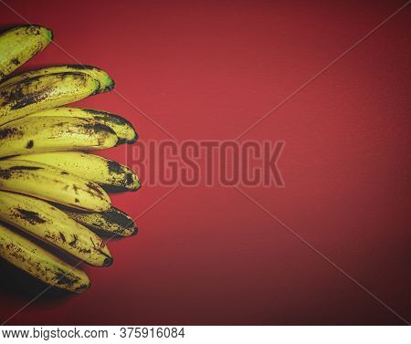 Retro Styled Image Of Organic Bananas On Red Background Top View.