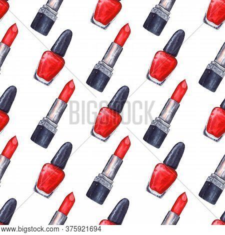 Watercolor Women's Red Lipstick Nail Polish Manicure Cosmetics Make Up Seamless Pattern Texture Back