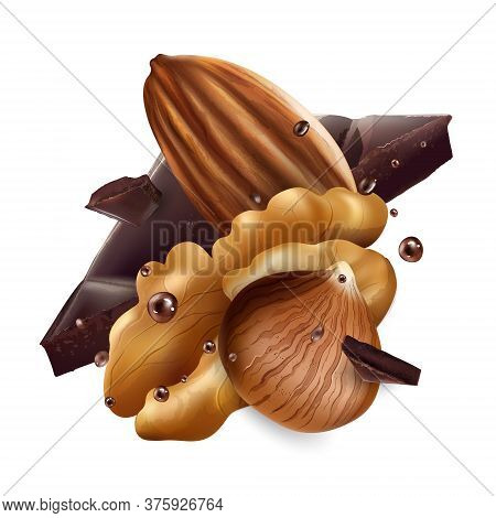 Hazelnuts, Almonds And Walnuts With Chocolate Pieces.
